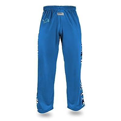 Zubaz NFL Detroit Lions Men's Camo Print Accent Team Logo Stadium Pants, Medium, Blue