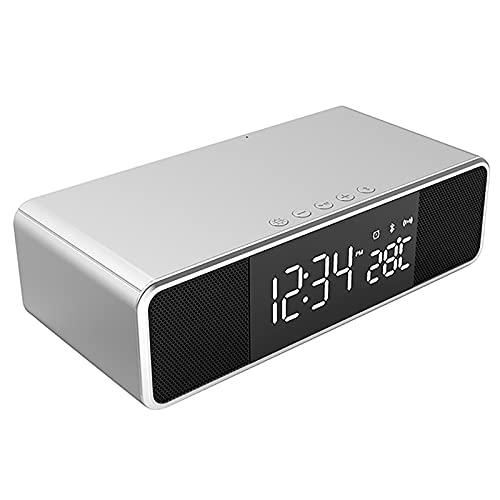 HFZY Reloj de Alarma Digital portátil, Altavoz de la Cama Bluetooth Radio FM con Maquillaje de Espejo/Puertos de Cargador USB para Oficina, Viajes,B