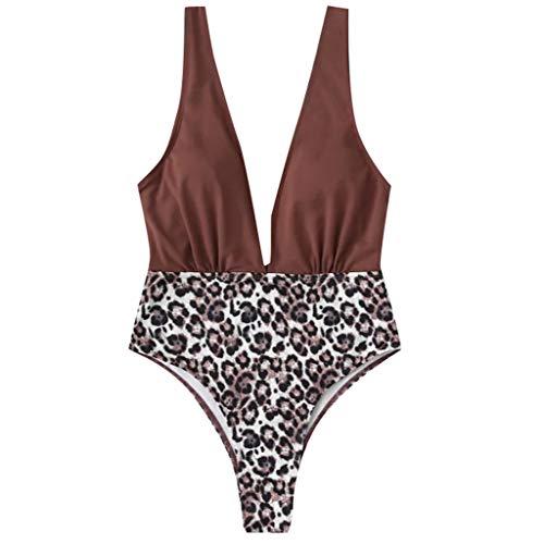 Deelin badpak voor dames, modieus, luipaardmotief, bedrukt, patchwork, hoge taille, zonder rug, badpak, Beachwear