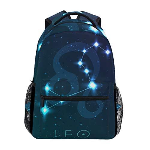 Jeansame Rucksack Schultasche Laptop Reisetaschen für Kinder Jungen Mädchen Damen Herren Löwe Astrologie Sterne Sternbild
