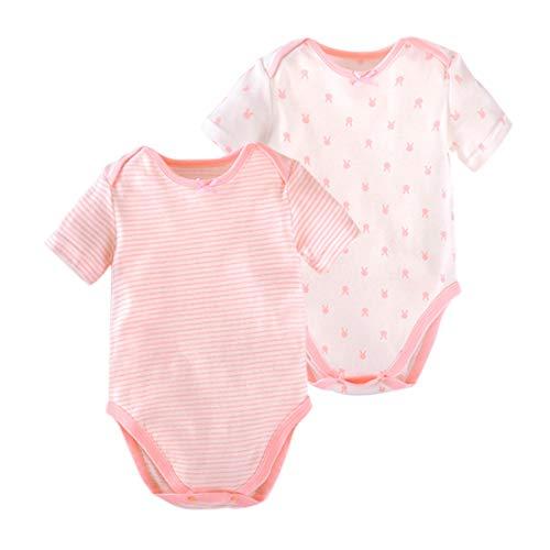 PAUBOLI - Mono de bebé de manga corta de algodón para bebés de 3 a 24 meses Rosa rosa 6-12 Meses