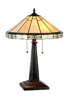 "Chloe Lighting ""BELLE"" Tiffany-style Mission 2 Light Table Lamp 16"" Shade"