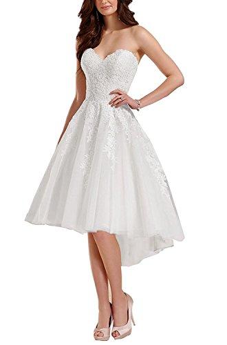 YASIOU Elegant Damen Kurz A Linie Weiß Spitze Vintage Vorne Kurz Hinten Lang Herzausschnitt zum Schnüren Hochzeitskleid Brautkleid