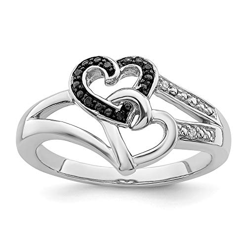 925 Sterling Silver Rhod Plated Black White Diamond Heart Band Ring Size 8.00 S/love Fine Jewelry...
