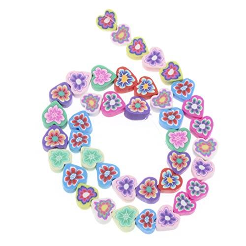 BOSAIYA Zz0 100 unids Amor Forma corazón Flor polimérica Arcilla Espaciador Suelta Perlas para Bricolaje Pulsera Collar Accesorios Tl523