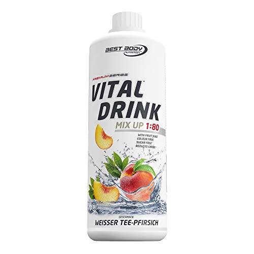 Best Body Nutrition Vital Drink Weißer Tee-Pfirsich, Getränkekonzentrat, 1000 ml Flasche