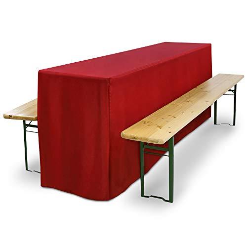 Beautissu Comfort L Biertischhusse extralang für 50cm Breiten Biertisch Festzeltgarnitur Bierzeltgarnitur - Hell-Rot & weitere Farben