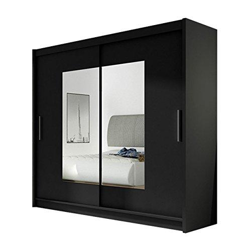 Kleiderschrank mit Spiegel London VII, Schwebetürenschrank, Schiebetürenschrank, Modernes Schlafzimmerschrank 180x215x57cm, Garderobe, Schlafzimmer (Schwarz)