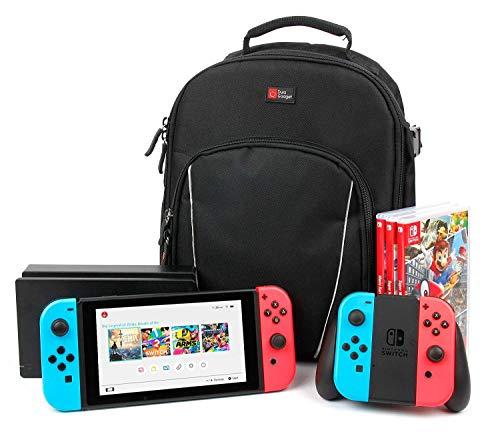 """DURAGADGET Sac à Dos Noir résistant à l'eau Compatible avec Console de Jeux Nintendo Switch écran 6,2"""" / Switch Lite - Compartiments modulables"""