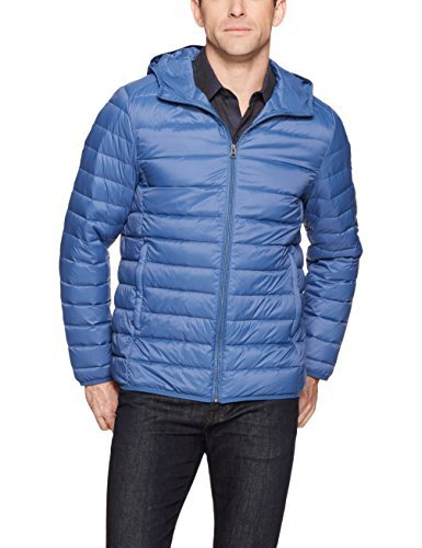Amazon Essentials Men's Lightweight Water-Resistant Packable Hooded Down Jacket, Blue, Large