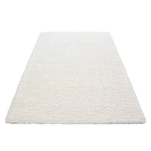 Teppich Hochflor Shaggy Teppich Unicolor einfarbig Teppich farbecht Pflegeleicht, Maße:60 cm x 110 cm, Farbe:Ivory