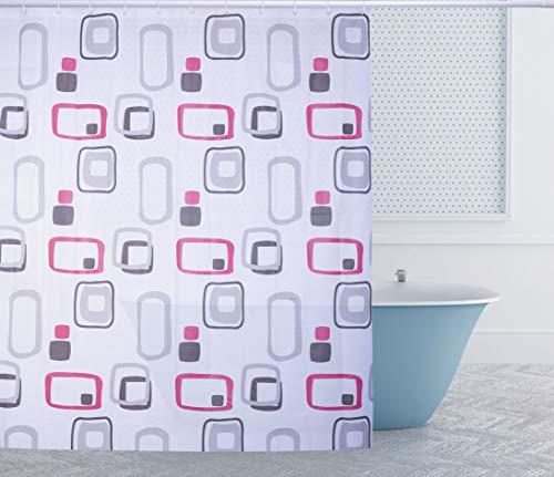 Duschvorhang 180 x 200cm Eva Wasserdicht, Anti Schimmel, Waschbar, mit 12 Ringe, Bad Vorhang für Badezimmer Badewanne (Bubble Rot/Schwarz)