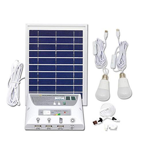 Damai Kit De Iluminación De Energía Solar con 2 Bombillas USB para Uso En Interiores Y Al Aire Libre 5000Mah Batería para Cargar Móviles Y para Luces De Emergencia