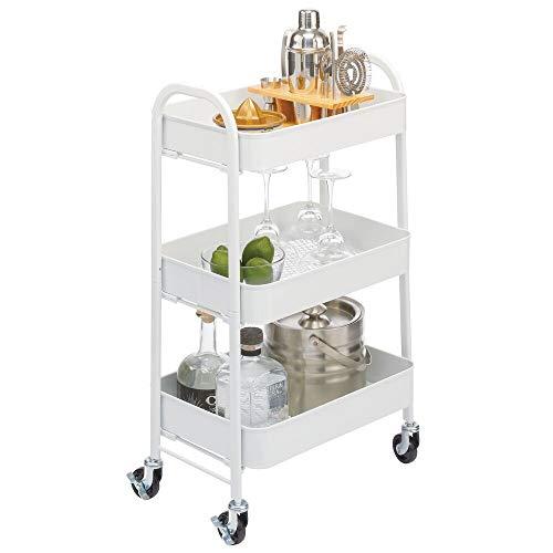mDesign Carrito auxiliar de metal – Carro de cocina móvil con 3 niveles para almacenaje adicional – Carro verdulero, también práctico en la habitación infantil o el baño – blanco mate