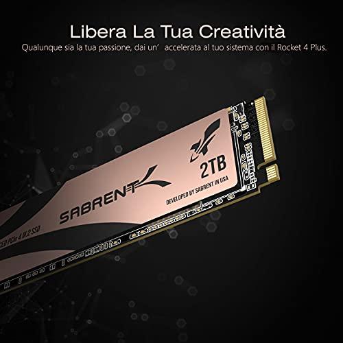 Sabrent Rocket 4 Plus SSD Interno M.2 NVMe PCIe 4.0 Gen4 da 2TB Unità di Memoria a Stato Solido R/W 7100/6600MB/s (SB-RKT4P-2TB)