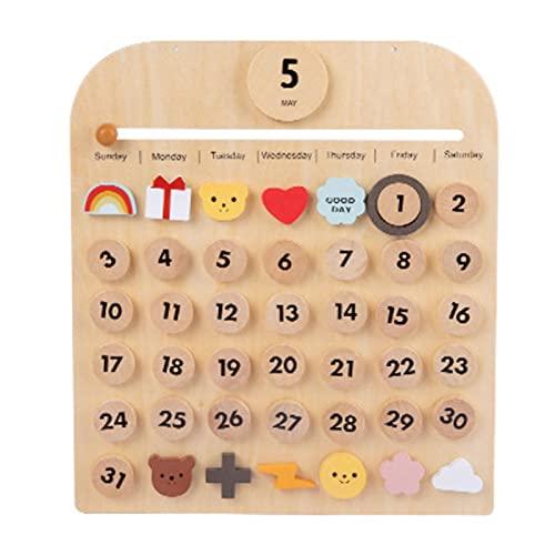 Montessori - Calendario de madera para niños, calendario de pared de escritorio perpetuo, juguete de los conceptos de fechas, vacaciones, cumpleaños, estaciones y eventos especiales