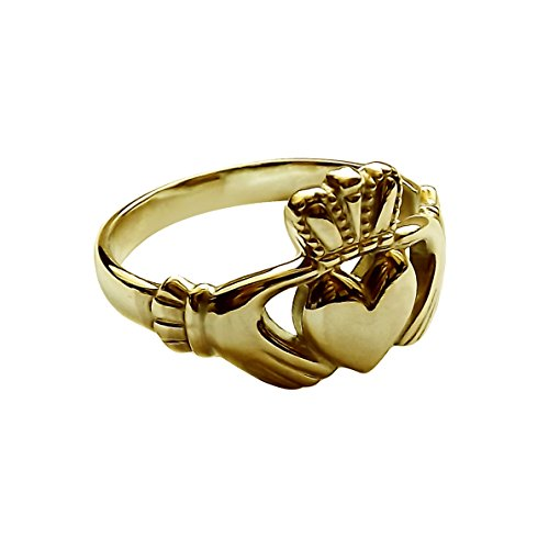 9ct Yellow Gold Claddagh Ring 10.5mm Small Irish Made Size H