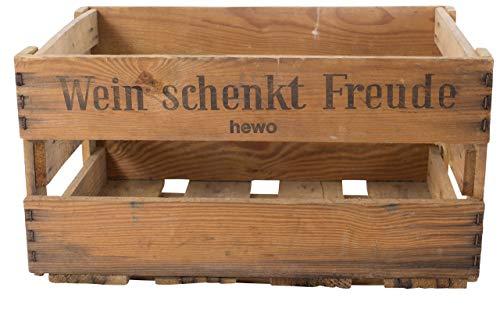 """Obstkisten-online Stabile alte Weinkiste mit Schriftzug """"Wein schenkt Freude"""" Deko Gebraucht (4,8) - 2"""