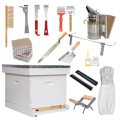 POLLIBEE Beehive Starter Kit 10-Frame Bee Hives and Supplies Starter Kit, Wax Coated and Painted...