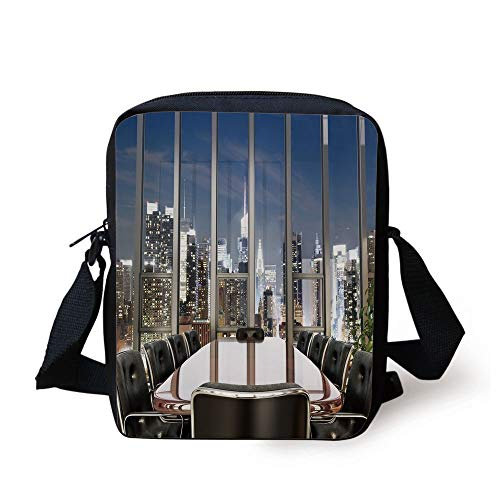 Modern Decor,Business Office Conference Room Table Chairs City View at Dusk Realistic,Grey Black Blue Print Kids Crossbody Messenger Bag Purse