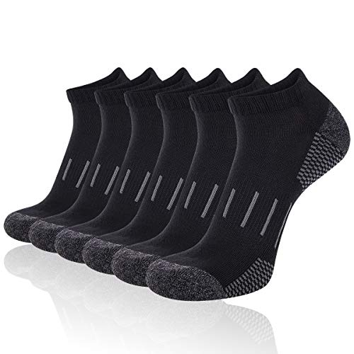 Heatuff Men's Athletic Ankle Performance Breathable Cushion Sport/Workout/Running Low Cut Socks 6 Pair(Black), Fit Shoe Size 7-12,Socks Size 10-13