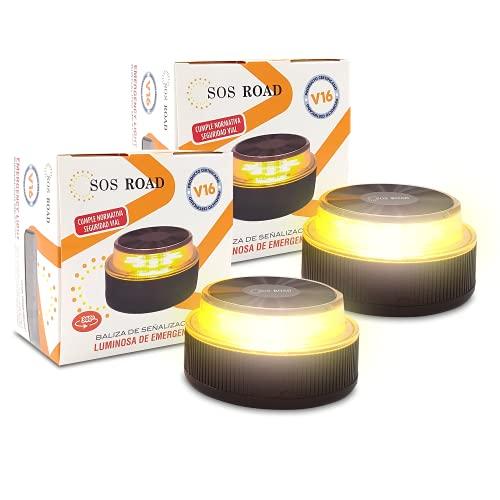 NK SOS Road - Baliza luz de Emergencia | Luz de Emergencia Autónoma | Luz LED | Señal V16 de Preseñalización de Peligro Homologada, Pilas Incluidas - (Autorizada por la DGT) - 2 Unidades