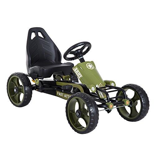 HOMCOM Go-Kart a Pedales para Niños de +3 Años Coche de Pedales con Embrague Freno Asiento Ajustable Carga Máx. 35 kg 105x54x61 cm Verde
