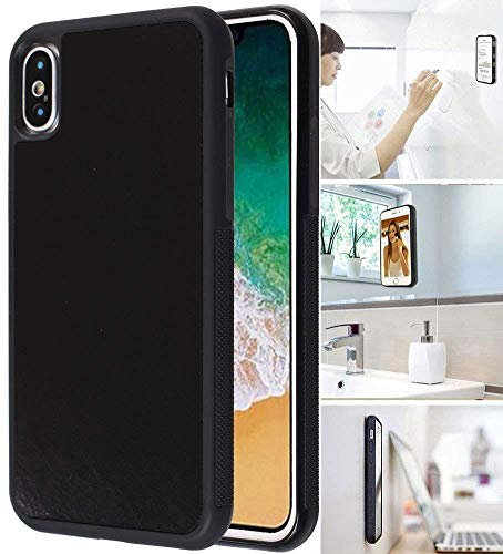 MONCA ] Anti Gravity Cellphone Case [Black] Magical Nano Technology Stick to Wall, Glass, Whiteboards, Tile, Smooth Flat Surfaces (Goat Case for iPhone XR)