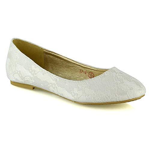 Womens Flat Bridal Shoes Ladies Ivory Slip On Lace Closed Toe Wedding Bridesmaid Pumps 8 B(M) US
