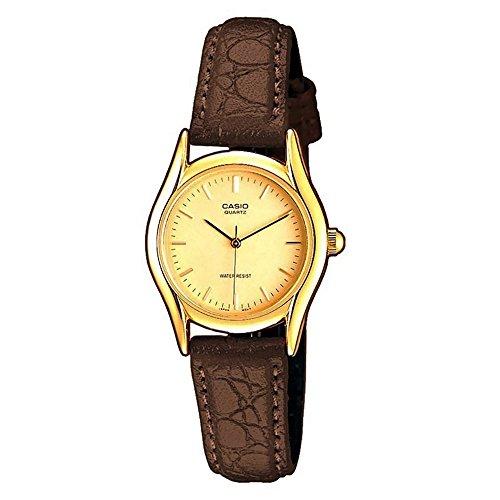 LTP1094Q-9A Casio reloj de pulsera para mujer - de color marrón de piel de serpiente/líneas de oro/oro/de un tamaño