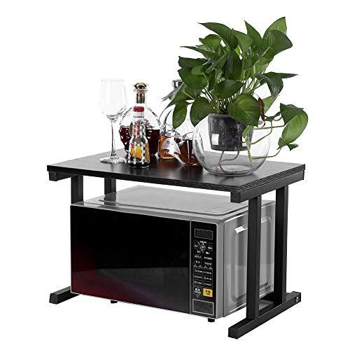 Estante de horno de microondas de 2 niveles, soporte para horno de microondas de cocina, restaurante (negro)
