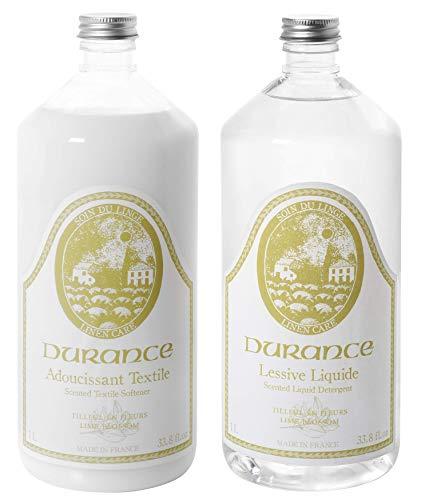 Durance en Provence - Textilpflege-Set - Waschmittel & Weichspüler Duftrichtung Lindenblüte - 2 x 1 L
