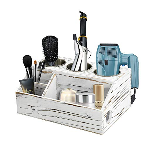 Rustic Wood Hair Dryer Holder Hair Styling Care Tool Organizer Bathroom Supplies Countertop Storage Stand and Vanity Caddy for Blow Dryer Flat Iron Curling Wand Hair Straightener Brushes White
