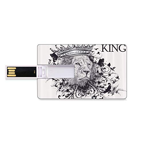 128G USB-Flash-Thumb-Laufwerke König Bank Kreditkarte Form Business Key U Disk Memory Stick Speicher Herrschaft des Dschungels Wald Symbol des Mutes Safari Tier Lion Grunge Design,Burnt Orange, Person