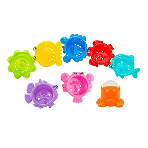 Kisangel 8 Unids Animal Marino Bebé Baño Tazas Apilables Juguetes Bathtime Fun Toys Juguetes Acuáticos para Niños Pequeños Niños