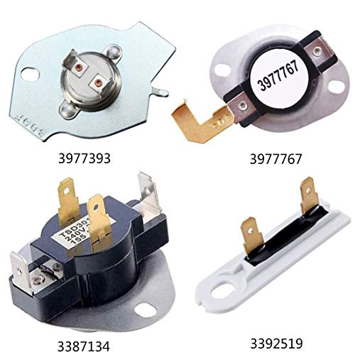 3387134 High-Limit Thermostat 3392519 Dryer Thermal Fuse 3977393 Cut-off Switch 3977767 Cycling Thermostat Compatible with hirlpool kenmore mwaytag Replaces Parts 3399693 PS345113 AP6008325