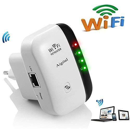 Aigital WLAN Verstaerker WiFi Repeater Range Extender verstärker 300Mbps Multifunktion Mini Wireless W-LAN Signal Booster Wireless Access Point 2.4GHz mit WPS Funktion Willigt IEEE802.11n/g/b