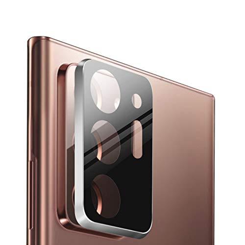 2x Kamera Alu Schutz Rahmen integriertes Glas Folie für Samsung Galaxy Note20 Ultra 5G, Rückseite Kamera Hinten Deckel für Note20 Ultra,Linsen Metallring (Silber) HD Gehärtetes Glas Volle Abdeckung