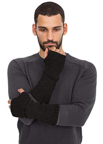 likemary Handschuhe Armstulpen Pulswärmer aus Merinowolle für Männer - ethisches Geschenk- fingerlos Schwarz