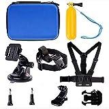 Navitech 9 in 1 Action Kamera Zubehör Combo Kit und robuste Blaue Aufbewahrungskoffer kompatibel mit der ACTIVEON CX Gold Action Camera (Black Gold)