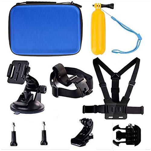 Navitech 9 in 1 Action Camera Accessory Combo Kit and Rugged Blue Storage Case Compatible with The Aokon 4K Action Camera,