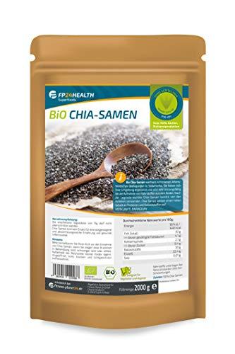 FP24 Health BIO Chia Samen 2000g - Zippbeutel - Rückstandskontrolliert - 2kg - Salvia hispanica - abgefüllt in Deutschland - Top Qualität