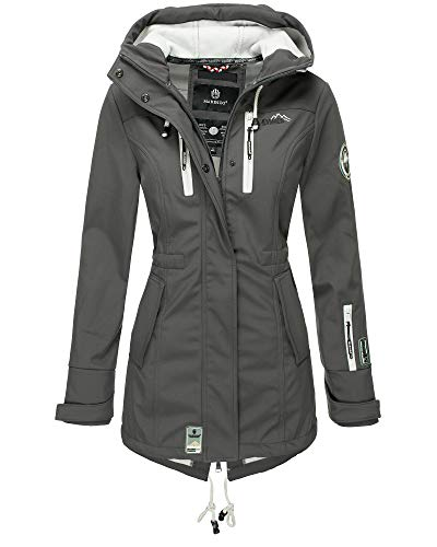 Marikoo Damen Softshell Jacke Winter Jacke Regenjacke Parka Kapuze ZMTZ (XL, Dunkelgrau)