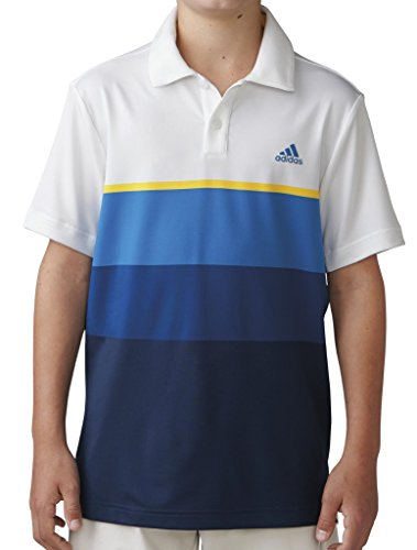 adidas Golf Boys Climacool Engineered Stripe Shirt, White/Yellow, Medium