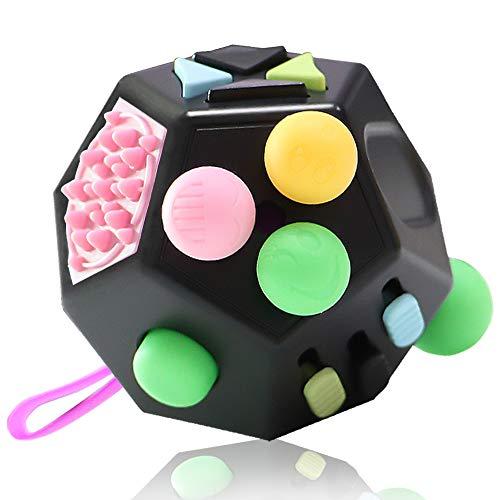 VCOSTORE Fidget Cube 12 Seiten Stresswürfel, Angst Entlastung, Tragbares Anti Stress Spielzeug für Kinder und Erwachsene mit ADHS ADD OCD Autismus (Schwarz)
