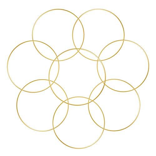 Sntieecr 8 PCS 15 cm oro metal anillo floral anillo aros, oro metal floral aro guiñada para hacer la visura de la boda decoración, sueño Catcher y Macrame pared colgante Artesanía
