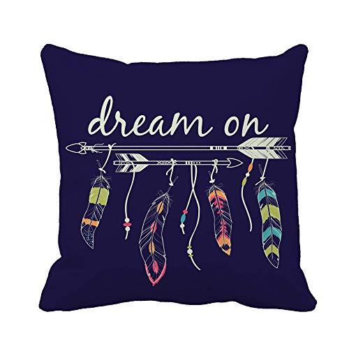 N\A Throw Pillow Cover Flechas y Plumas étnicas Motivos de Indios Americanos Boho Dream Funda de Almohada Funda de Almohada Cuadrada Decorativa para el hogar Funda de cojín