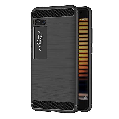 AICEK Meizu Pro 7 Plus Hülle, Schwarz Silikon Handyhülle für Meizu Pro 7 Plus Schutzhülle Karbon Optik Soft Case (5,7 Zoll)