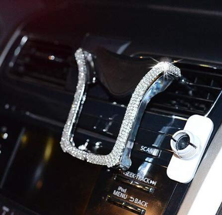 Car Phone Holder Bling Phone Bracket for Car Rhinestone Crystal Cellphone Holders Universal Air Vent Mount Clip, Stylish Sparkling Shiny Cell Phone Holder for iPhone / Samsung Car Holder (Silver)