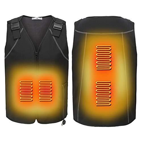 Jinclonder 2019 Elektrische verwarmingsvest, instelbare temperatuur, verwarmde kleding met vier koolstofvezel-verwarmingselementen voor winter skiën, wandelen, motorfietsen, vissen, kamperen en meer
